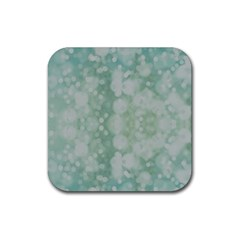 Light Circles, Mint Green Color Rubber Square Coaster (4 Pack)  by picsaspassion