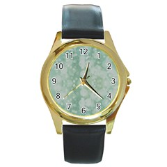 Light Circles, Mint Green Color Round Gold Metal Watch by picsaspassion