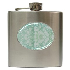 Light Circles, Mint Green Color Hip Flask (6 Oz) by picsaspassion