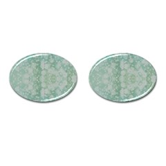 Light Circles, Mint Green Color Cufflinks (oval)