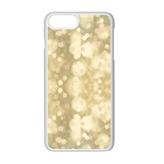 Light Circles, Brown Yellow Color Apple Iphone 7 Plus White Seamless Case by picsaspassion