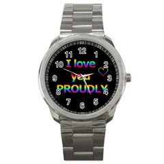 I Love You Proudly Sport Metal Watch by Valentinaart
