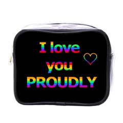 I Love You Proudly Mini Toiletries Bags by Valentinaart
