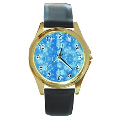 Light Circles, Dark And Light Blue Color Round Gold Metal Watch by picsaspassion