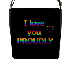 I Love You Proudly Flap Messenger Bag (l)  by Valentinaart