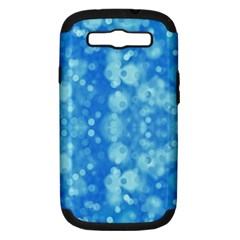 Light Circles, Dark And Light Blue Color Samsung Galaxy S Iii Hardshell Case (pc+silicone) by picsaspassion