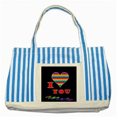 I Love You Striped Blue Tote Bag by Valentinaart