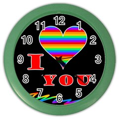 I Love You Color Wall Clocks by Valentinaart