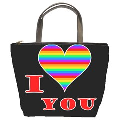 I Love You Bucket Bags by Valentinaart