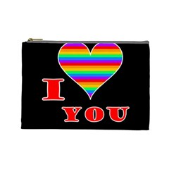 I Love You Cosmetic Bag (large)  by Valentinaart