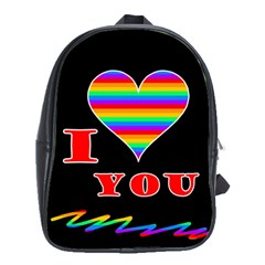 I Love You School Bags (xl)  by Valentinaart