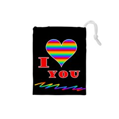 I Love You Drawstring Pouches (small)  by Valentinaart