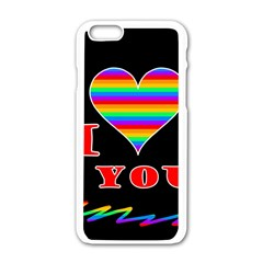 I Love You Apple Iphone 6/6s White Enamel Case by Valentinaart
