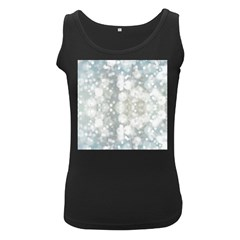Light Circles, Blue Gray White Colors Women s Black Tank Top