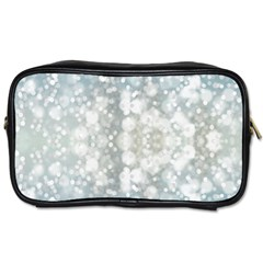 Light Circles, Blue Gray White Colors Toiletries Bags 2 Side