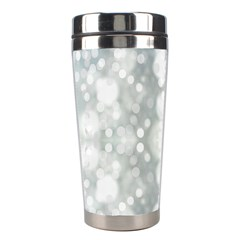 Light Circles, Blue Gray White Colors Stainless Steel Travel Tumblers by picsaspassion