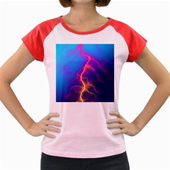 Lightning Colors, Blue Sky, Pink Orange Yellow Women s Cap Sleeve T Shirt