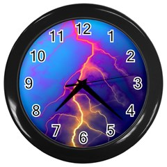 Lightning Colors, Blue Sky, Pink Orange Yellow Wall Clocks (black) by picsaspassion