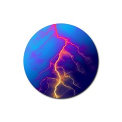 Lightning Colors, Blue Sky, Pink Orange Yellow Rubber Round Coaster (4 Pack)