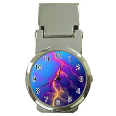 Lightning Colors, Blue Sky, Pink Orange Yellow Money Clip Watches
