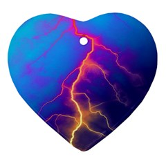 Lightning Colors, Blue Sky, Pink Orange Yellow Heart Ornament (2 Sides)