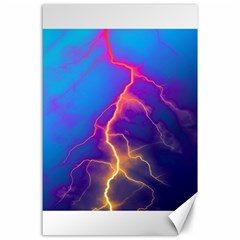 Lightning Colors, Blue Sky, Pink Orange Yellow Canvas 24  X 36  by picsaspassion