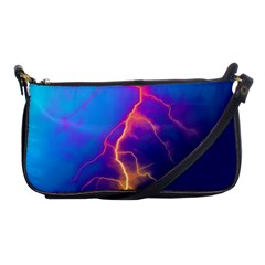 Lightning Colors, Blue Sky, Pink Orange Yellow Shoulder Clutch Bags by picsaspassion