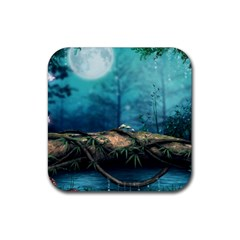 Mysterious Fantasy Nature  Rubber Coaster (square)  by Brittlevirginclothing
