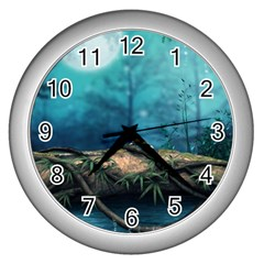 Mysterious Fantasy Nature  Wall Clocks (silver)  by Brittlevirginclothing