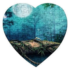 Mysterious Fantasy Nature  Jigsaw Puzzle (heart) by Brittlevirginclothing