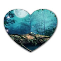 Mysterious Fantasy Nature  Heart Mousepads by Brittlevirginclothing