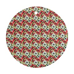 Gorgeous Red Flower Pattern Ornament (round)  by Brittlevirginclothing