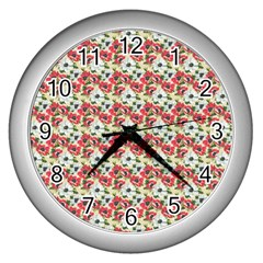 Gorgeous Red Flower Pattern Wall Clocks (silver)  by Brittlevirginclothing