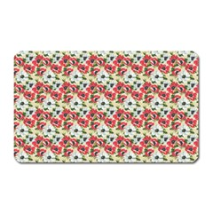 Gorgeous Red Flower Pattern Magnet (rectangular) by Brittlevirginclothing