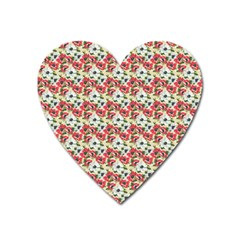 Gorgeous Red Flower Pattern Heart Magnet by Brittlevirginclothing