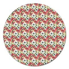 Gorgeous Red Flower Pattern Magnet 5  (round) by Brittlevirginclothing