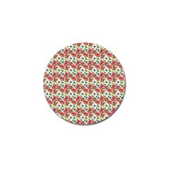 Gorgeous Red Flower Pattern Golf Ball Marker (10 Pack) by Brittlevirginclothing
