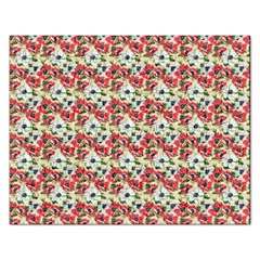 Gorgeous Red Flower Pattern Rectangular Jigsaw Puzzl by Brittlevirginclothing