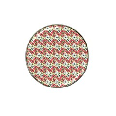 Gorgeous Red Flower Pattern Hat Clip Ball Marker (4 Pack)