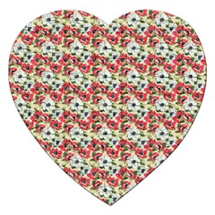 Gorgeous Red Flower Pattern Jigsaw Puzzle (heart) by Brittlevirginclothing