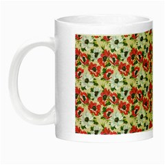 Gorgeous Red Flower Pattern Night Luminous Mugs by Brittlevirginclothing