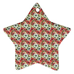 Gorgeous Red Flower Pattern Star Ornament (two Sides)  by Brittlevirginclothing