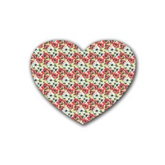 Gorgeous Red Flower Pattern Rubber Coaster (heart)  by Brittlevirginclothing