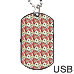 Gorgeous Red Flower Pattern Dog Tag Usb Flash (one Side) by Brittlevirginclothing