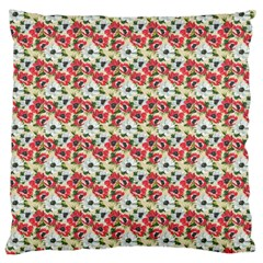 Gorgeous Red Flower Pattern Large Cushion Case (one Side) by Brittlevirginclothing