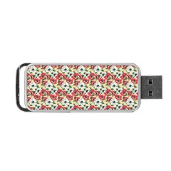 Gorgeous Red Flower Pattern Portable Usb Flash (one Side) by Brittlevirginclothing