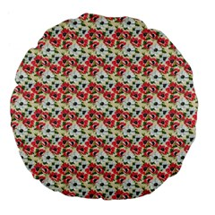 Gorgeous Red Flower Pattern Large 18  Premium Flano Round Cushions by Brittlevirginclothing