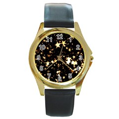 Golden Stars In The Sky Round Gold Metal Watch by picsaspassion