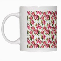 Gorgeous Pink Flower Pattern White Mugs by Brittlevirginclothing