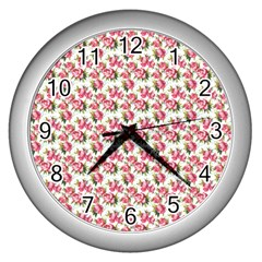 Gorgeous Pink Flower Pattern Wall Clocks (silver)  by Brittlevirginclothing